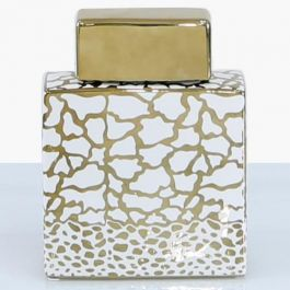 Animal Square White & Gold Jar Medium