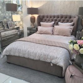 London King Size Ottoman Bed Latte