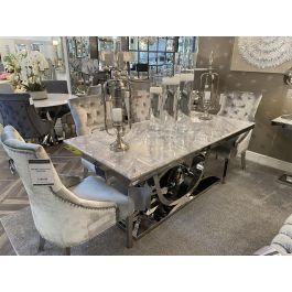 PORTLAND 180CM GREY DINING TABLE & 6 CHAIRS