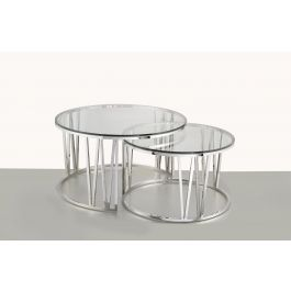 Mila Clear Glass Coffee Table Set