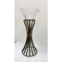 Round Top Vase With Glass Top Silver