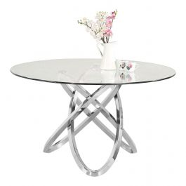 Caria Silver Round Glass Dining Table