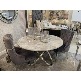 Caria Grey Marble Dining Table & 4 Chairs