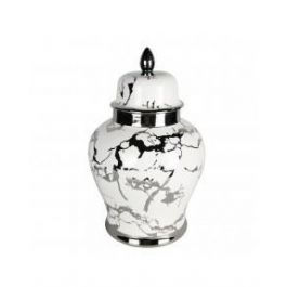 41cm Ginger Jar White and Silver