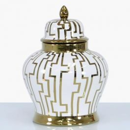 Pattern White & Gold Jar Medium
