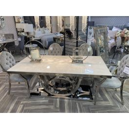 PORTLAND 180CM CREAM DINING TABLE & 6 CHAIRS