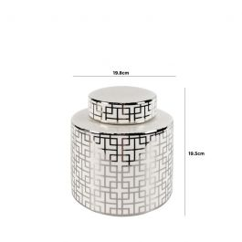 White & Silver Key Jar Small