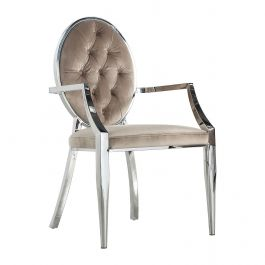 CLARA - Button Round Chair w/ Arm - Mink