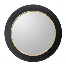 Black Frame Round Mirror With LED