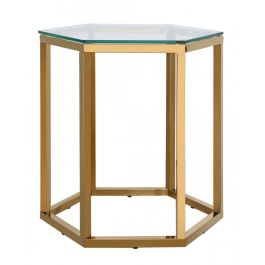 The Hexagon Gold Metal End Table