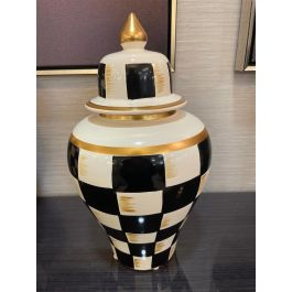 Gold & Black Chequered Jar Large