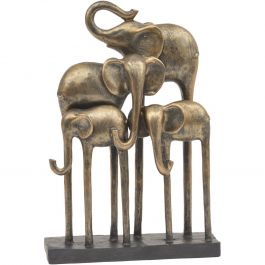 ANTIQUE BRONZE GROUP OF ELEPHANTS