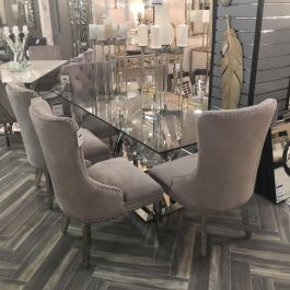 Harley Glass Dining Table And 6 Chloe Chairs