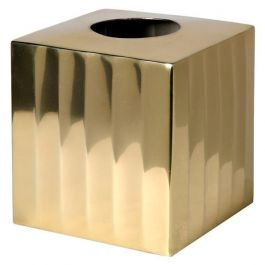 Antique Brass Ribbed Tissue Box