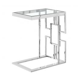 Geo Chrome & Glass Sofa Table