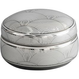 SILVER WHITE FAN DECO CERAMIC TRINKET BOX