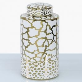 Animal White & Gold Jar Large