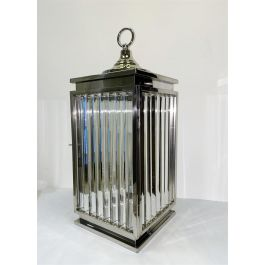 Silver Crystal Efect Glass Lantern - Large