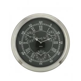 World Time Black And Nickel Wall Clock