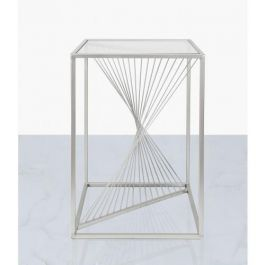 Brisa Silver Metal & Glass End Table