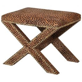 Leopard Print Hide Cross   Stool