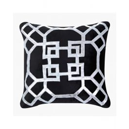 Geometric Black And Silver Velvet Cushion 50X50