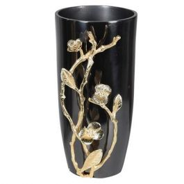Gold Leaves Grey Vase Small