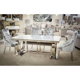Alma Grey 200cm Dining Table And 6 Megan Chairs