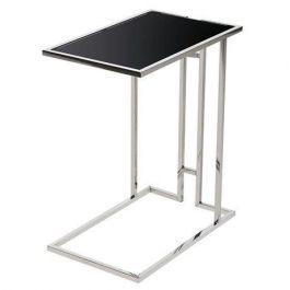 Steel Black Glass Side Table