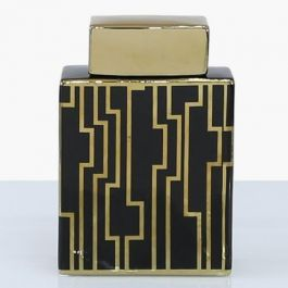 Pattern Square Black & Gold Jar Large