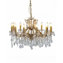 12 Branch Shallow Glass Gold Chandelier