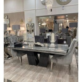 Julux Dining Table & 6 Megan Silver Chairs