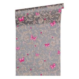 Versace Pink Butterfly Grey Wallpaper