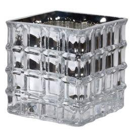 Silver Square Glass Vase Small