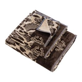 Roberto Cavalli Linx Bath Sheet Brown