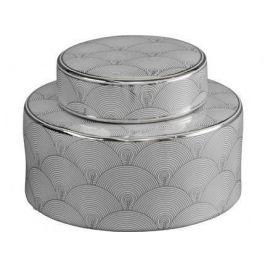 Silver and white fan deco ceramic jar