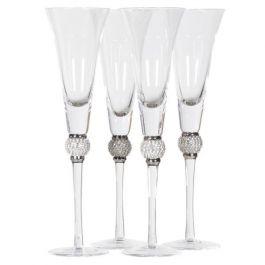 Set of 4 Silver Diamante Ball Champagne Glasses