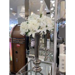 Flute Vase Round Base Silver Medium