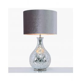 Silver Mercury Glass Table Lamp With 18inch Grey Velvet Shade