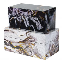 Set Of 2 Marble Decorative Boxes