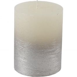White Pillar Metallic Silver Candle 10x10cm