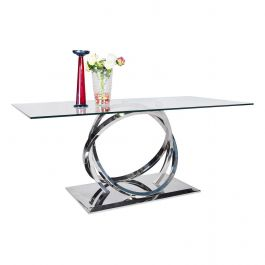 Harley Glass & Chrome 180cm Dining Table
