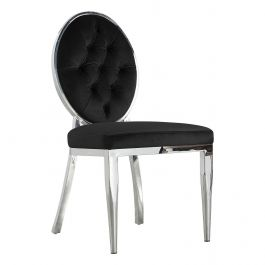 CLARA - Button Round Chair - Black