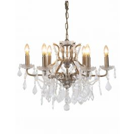 6 Branch Shallow Glass Gold Chandelier