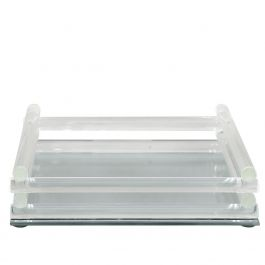 Mirrored Small Tray With Clear Frame
