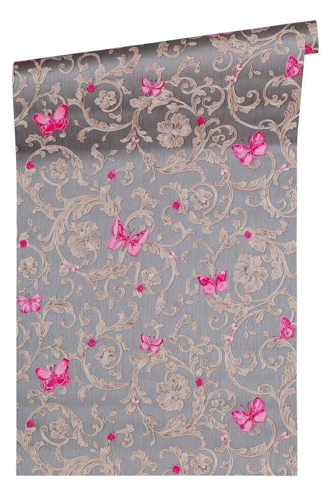 Versace Pink Butterfly Grey Wallpaper