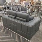 Denver Grey Leather Sofa 3 Seater