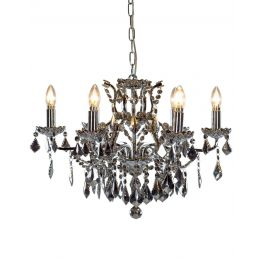 6 Chrome With Chrome Crystal Chandelier