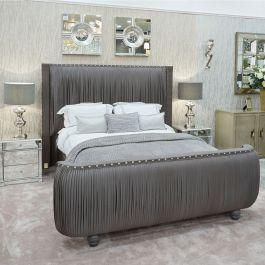 The Monte Carlo Bed Dark Grey Silk Bed