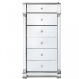 The Louis Six Drawer Silver Mirror Cabinet